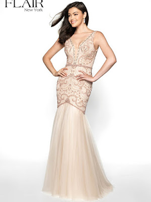 lace mermaid plugging v-neck fitted prom ivory color dress
