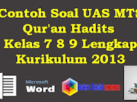 Contoh Soal UAS MTS Qur'an Hadits Kelas 7 8 9 Lengkap Kurikulum 2013