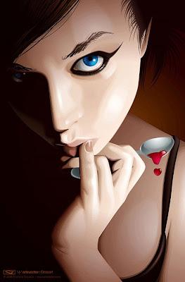 Ilustración con vectores chica sexy
