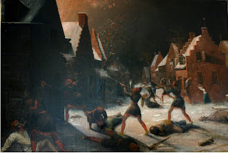 Painting of Native American firing rifles at buildings in a Dutch colonial village with white colonists running away or lying on the snow-covered ground.