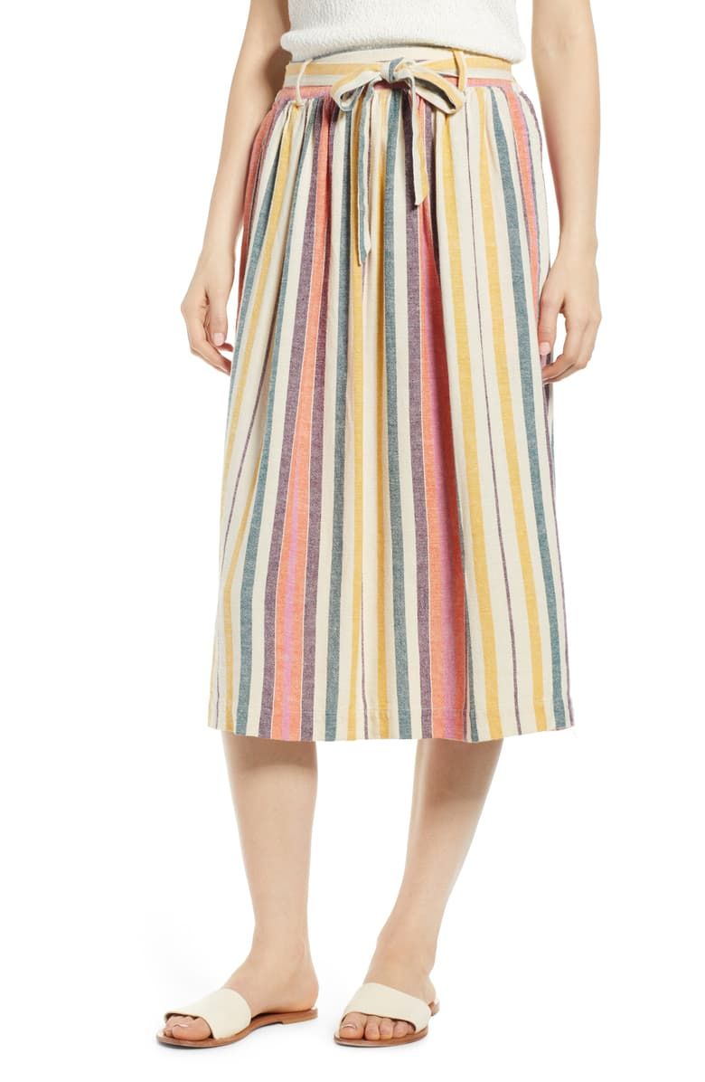 BP. Tie Belt Stripe Midi Skirt