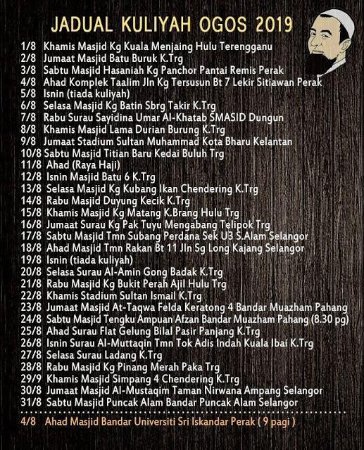 Jadual Penuh Kuliah Ustaz Azhar Idrus (UAI) Bulan Ogos 2019