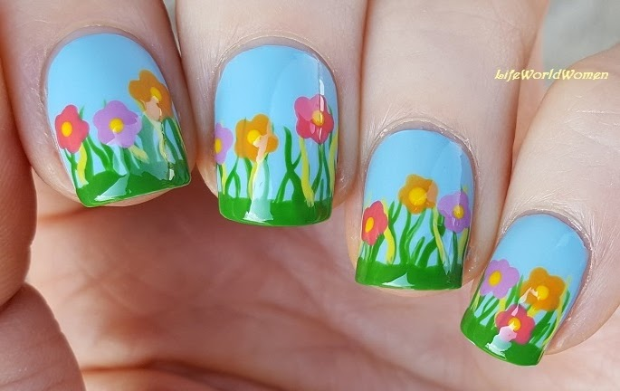Life world women easter spring flower nail art easter spring flower nail art mightylinksfo