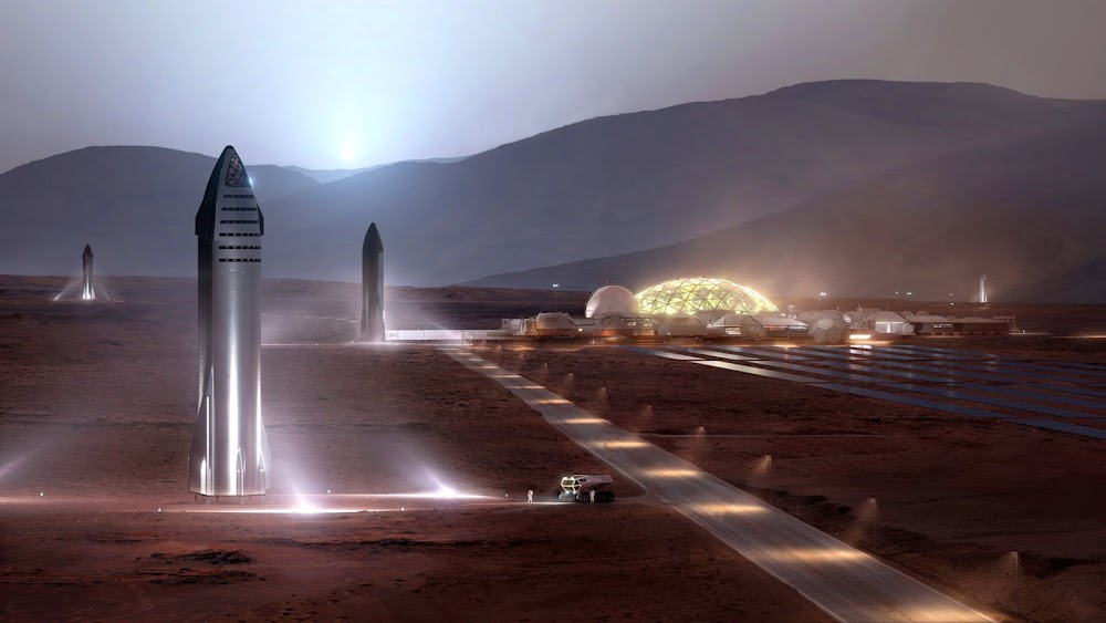 SpaceX Starship at Mars Base Alpha