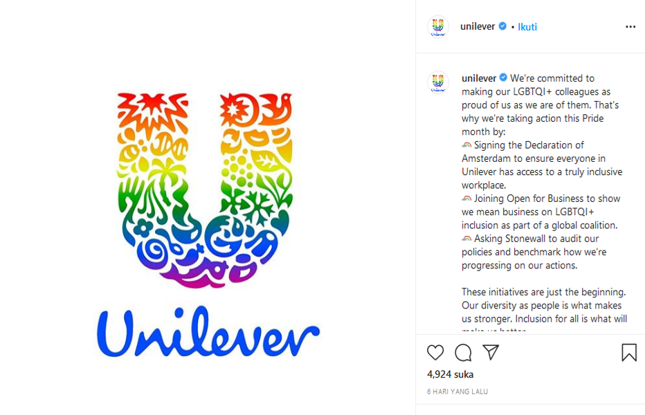 Dukung L9BT, Unilever Tuai Kritikan Warganet