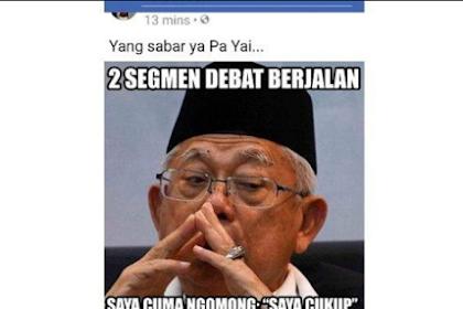 """Beredar di Medsos Meme Ma'ruf Amin Irit Bicara """"Saya Cukup"""""""