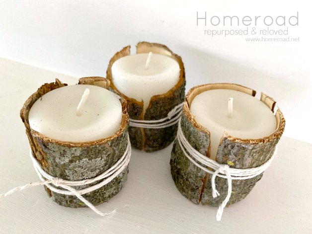 DIY Decorative Tree Bark Candle Wraps