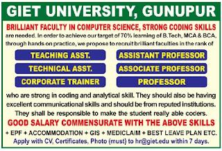 Gunupur, GIET University Professor, Assistant Professor Faculty Jobs 2020