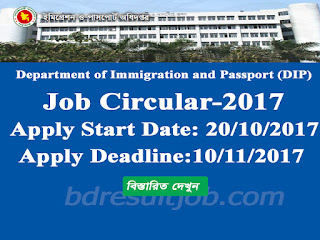 Department of Immigration and Passport (DIP)  job Circular 2017