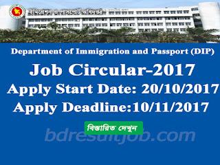 Department of Immigration and Passport (DIP)  job Circular 2017