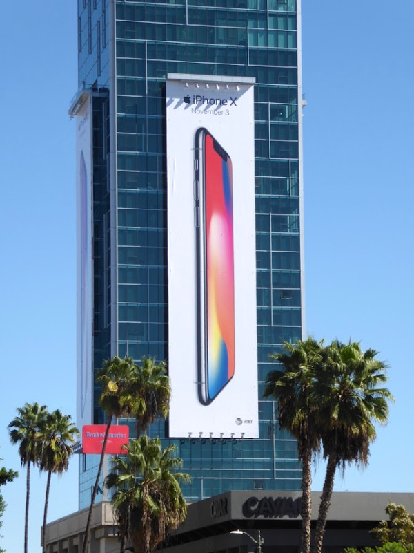Giant Apple iPhone X billboard Sunset Vine