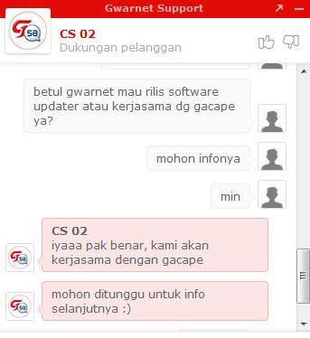 Kerjasama Gacape, G-Warnet Akan Rilis Updater