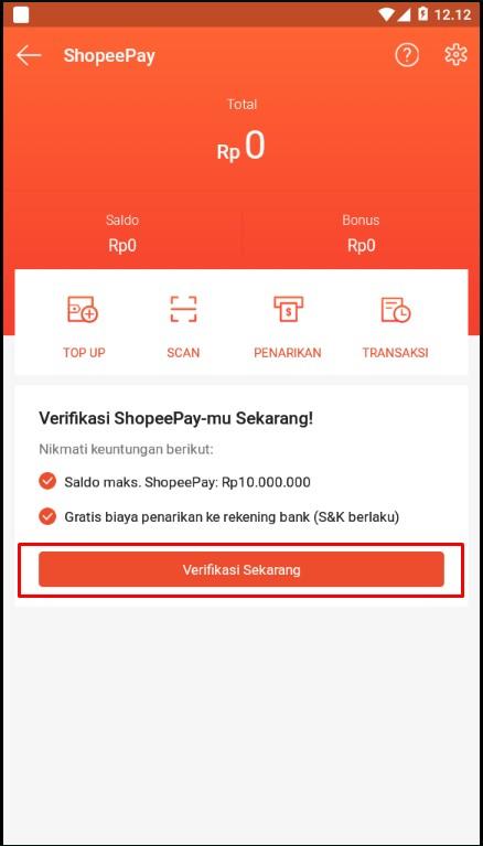 Tombol Untuk Verifikasi Lanjutan Akun ShopeePay Melalui Smartphone.
