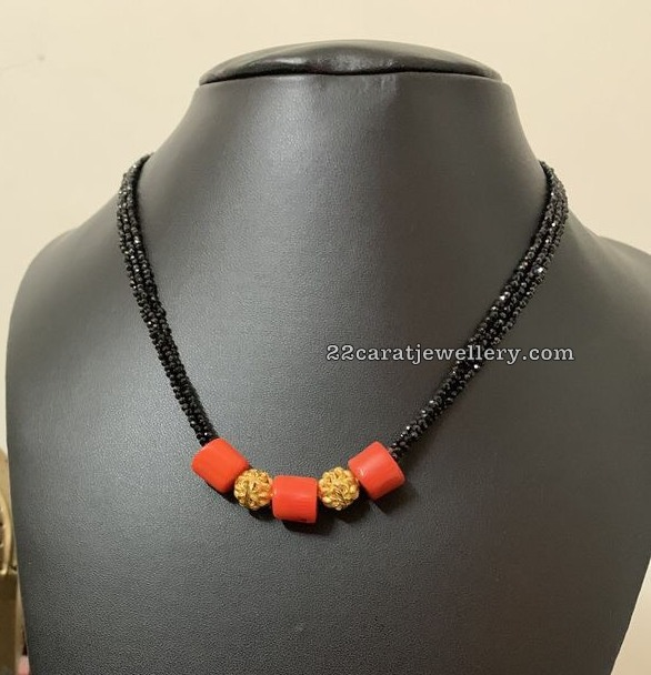 Black Beads Coral Necklaces