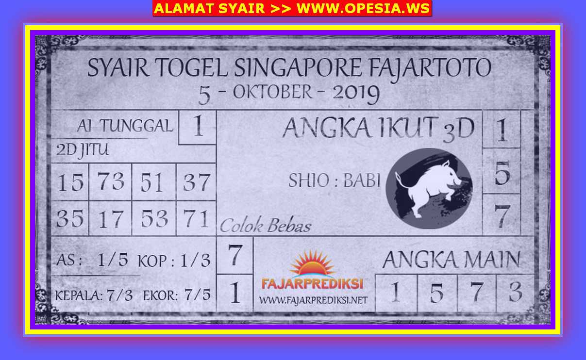 Kode syair Singapore Sabtu 5 Oktober 2019 85
