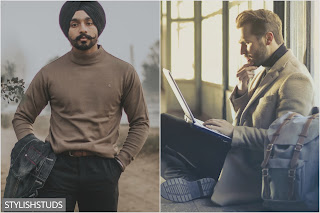 Two guys wearing high neck sweaters in two different ways.