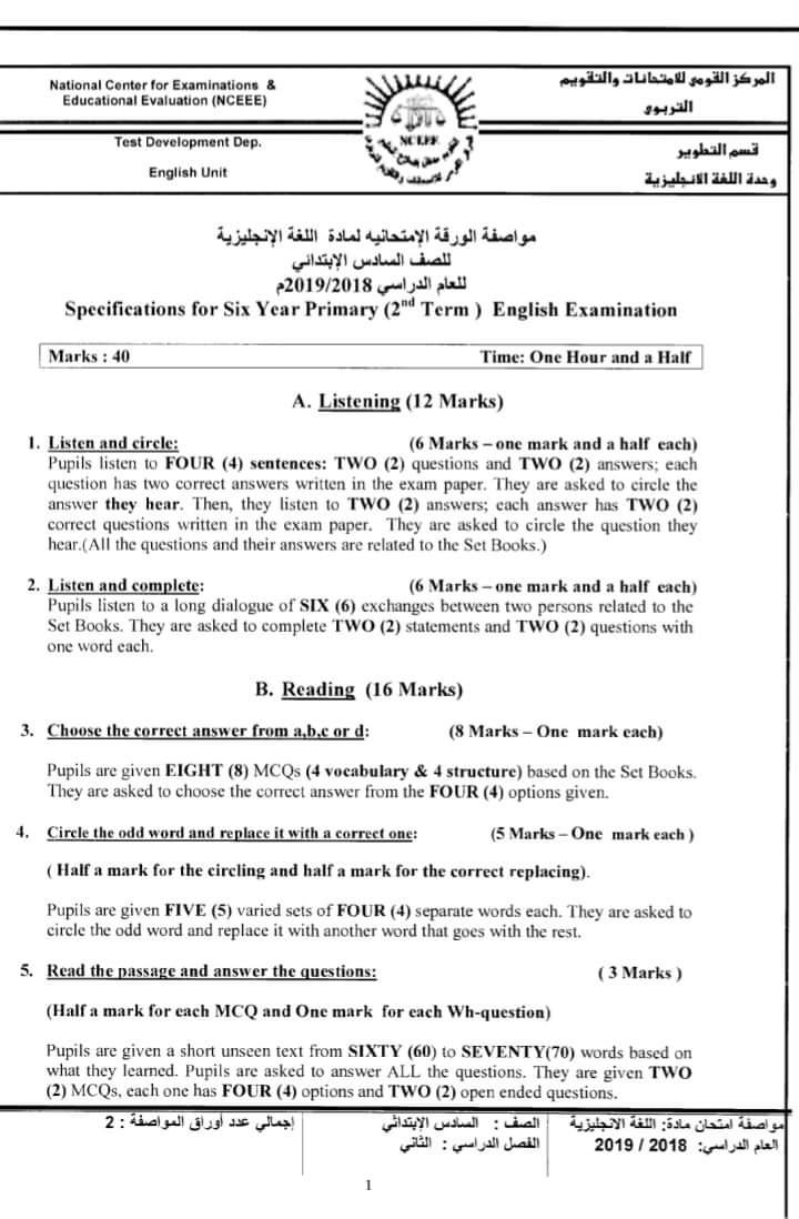 مواصفات الورقة الامتحانية لجميع المواد (ابتدائى - اعدادى - ثانوى) ترم ثانى 2019  FB_IMG_1554502739356