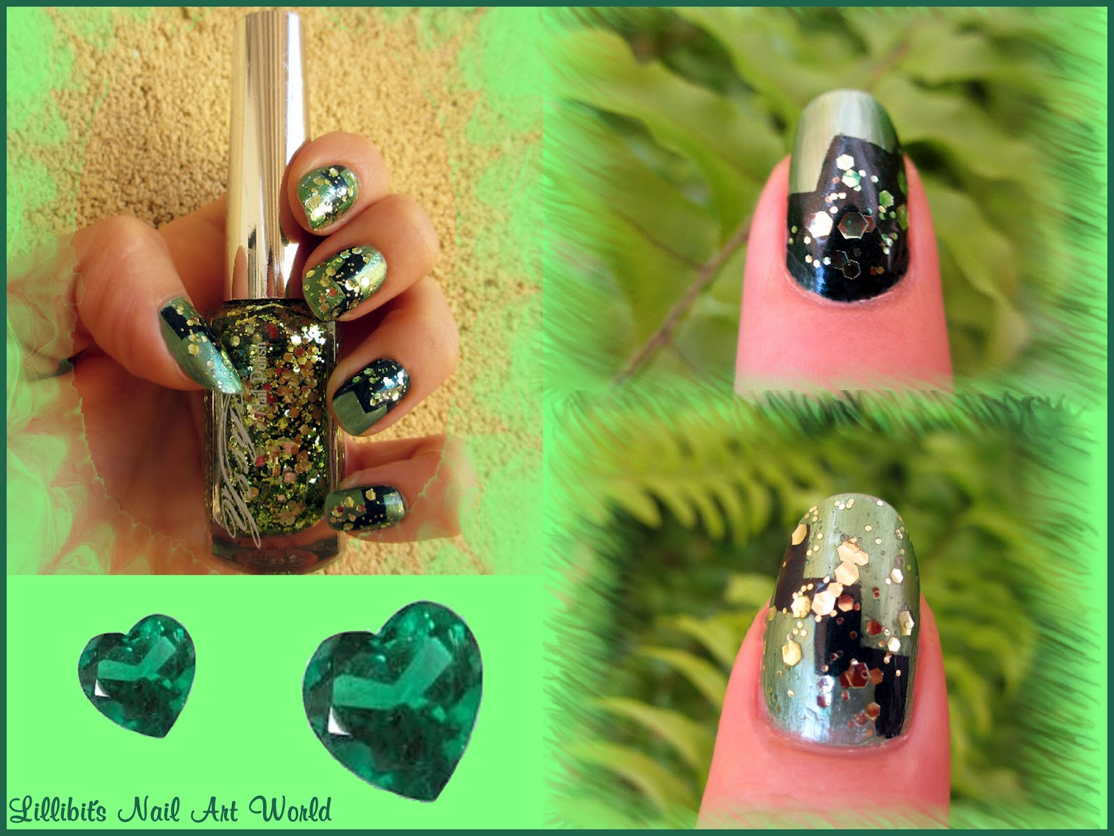 Lillibit´s Nail Art World: Uñas esmeraldas