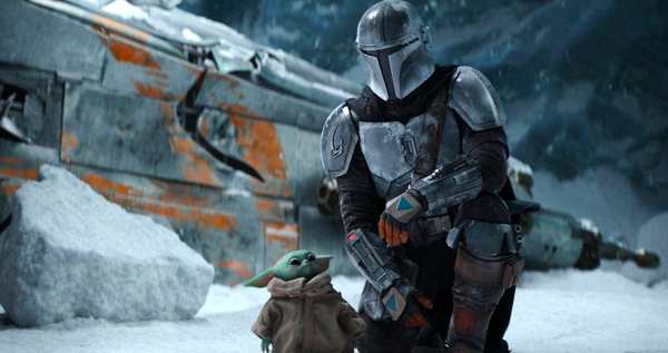 Din Djarin (Pedro Pascal) and Grogu in THE MANDALORIAN - Chapter 10: The Passenger.