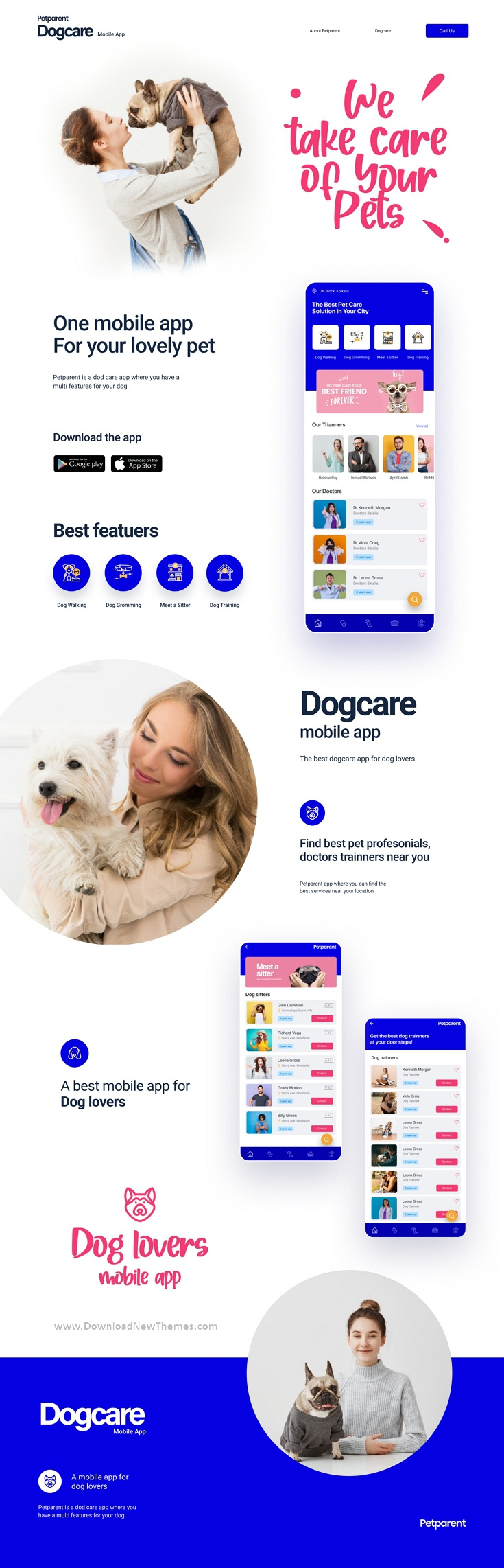 A Dog Care Mobile App and Landing page