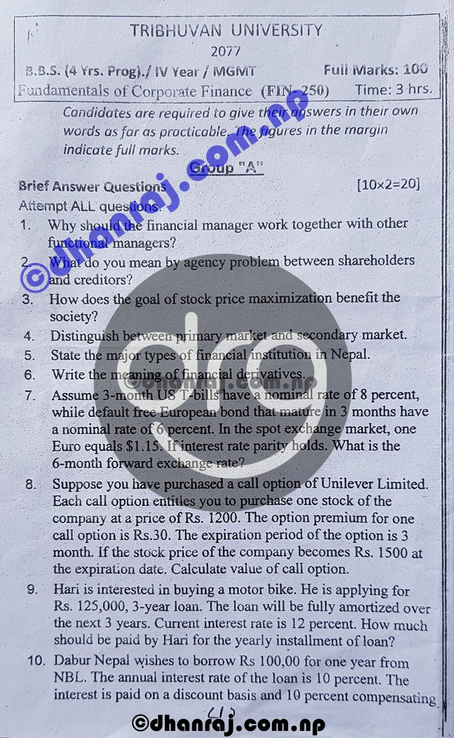 Fundamentals-Of-Corporate-Finance-FIN-250-IV-Year-Exam-Question-Paper-2077-BBS-TU