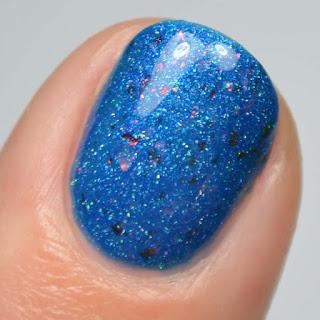 cerulean blue nail polish with color shifting flakies