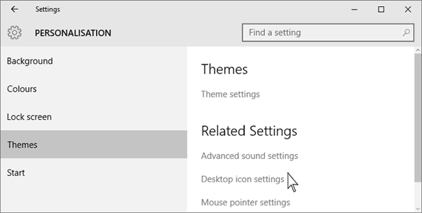 Windows 10 Personalization Dialogue Box