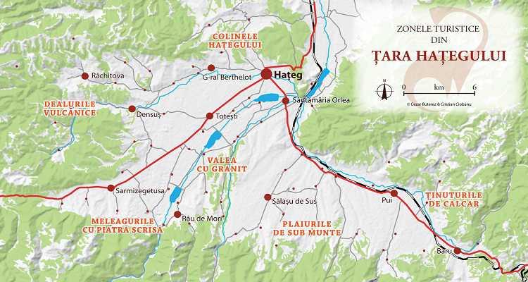 Hartă cu obiective turistice din Țara Hațegului