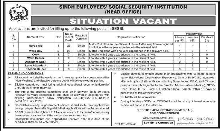 432 Posts In Sindh Employees' Social Security Institution SESSI Jobs 2021