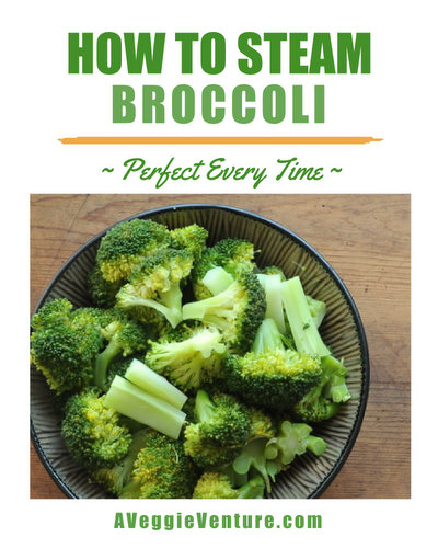 How to Steam Broccoli with step-by-step photos ♥ AVeggieVenture.com. Perfect every time!