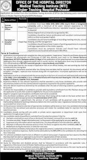 KTH Jobs Advertisement 2020, Khyber Teaching Hospital Peshawar