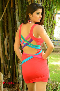 Actress Poojitha  Pictures in Red Short Dress at Bullet Movie Opening  0035.JPG