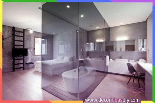 كابينة حمامات زجاج داخل غرف النوم