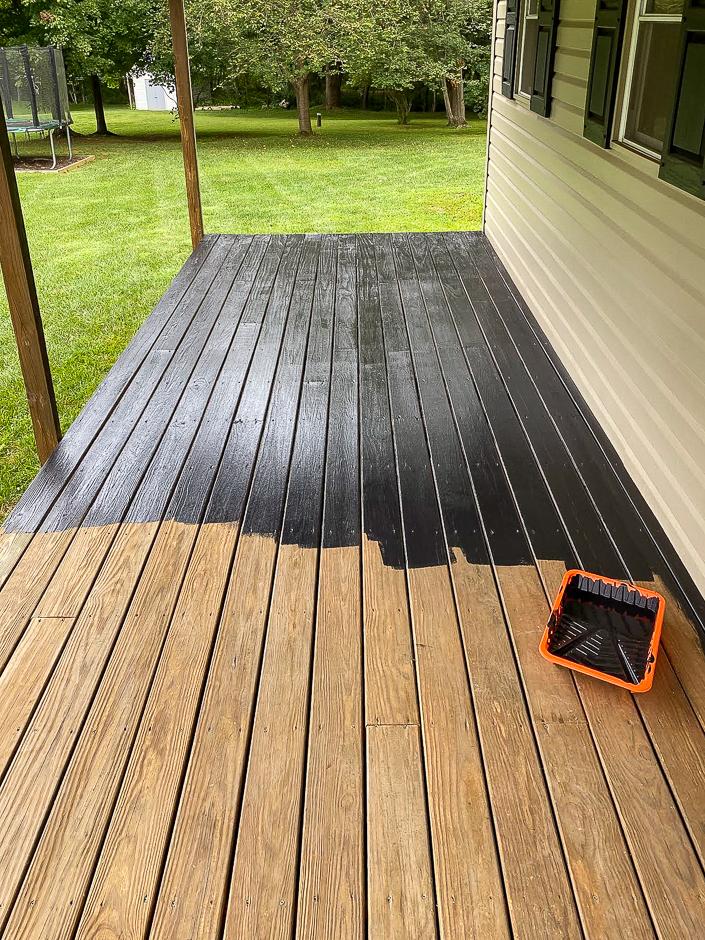 Staining deck black
