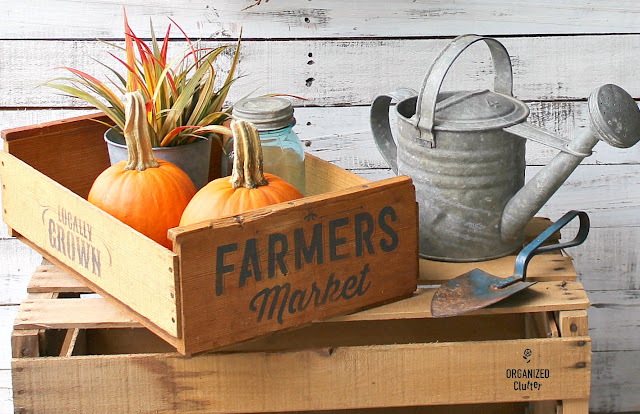Photo of a fall stenciled fruit crate.