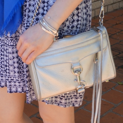Rebecca Minkoff metallic silver mini MAC with blue printed dress | awayfromtheblue