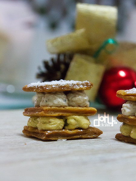 Receta de milhojas de hojaldre  con cremas de mejillones y sardinillas en conservas