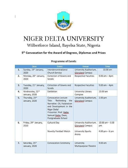 NDU 5th Convocation Ceremony Programme of Events 2019