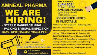 ITI/ Diploma/ B.Sc/ M. Pharm/ B. Pharm/D. Pharm Job vacancy in Amneal Pharmaceuticals Ltd