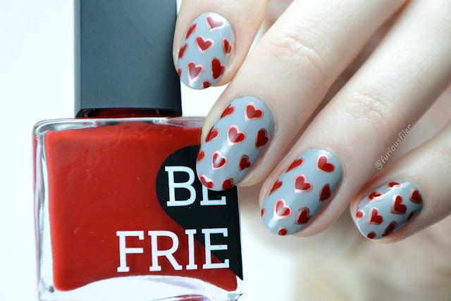 heart nail design metallic valentine's day love furious filer