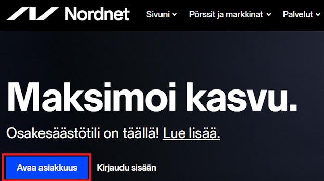 Nordnet arvo-osuustilin ja osakesäästötilin avaus