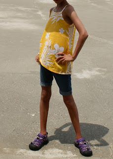 Child's yellow floral voile camisole top made from the Oliver+S Pinwheel Tunic + Slip Dress sewing pattern.