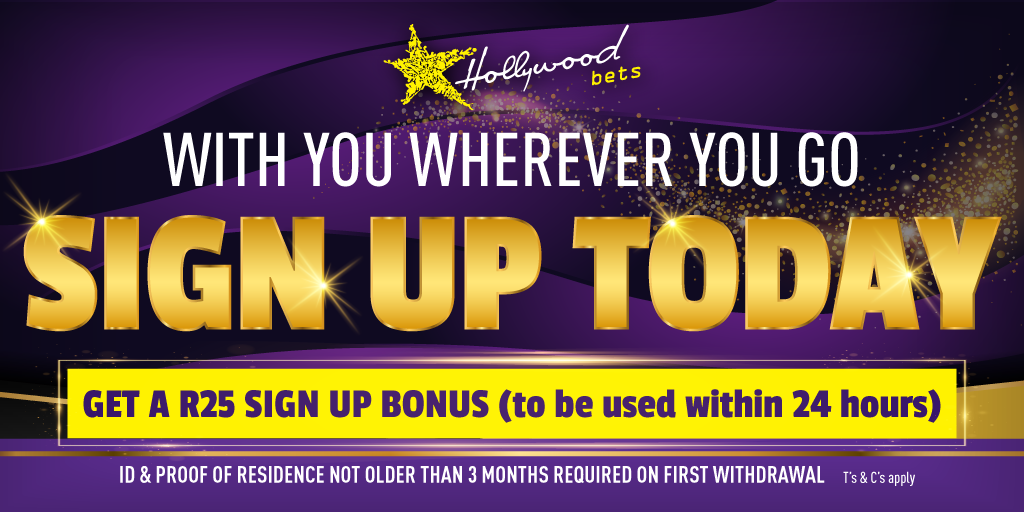 Register now with Hollywoodbets and receive a free R25 bonus sign up bonus