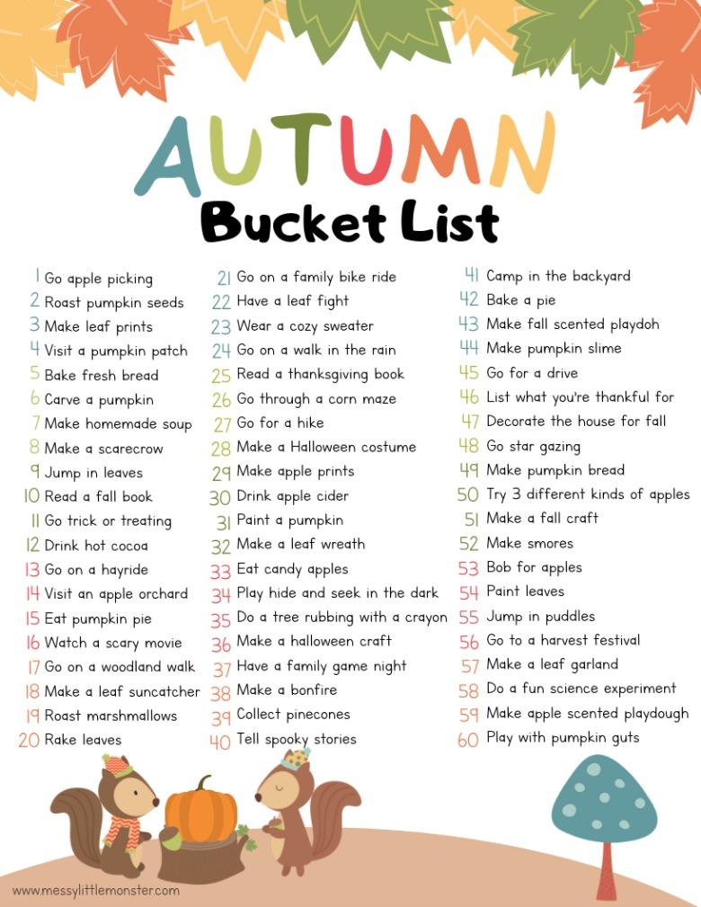 Autumn bucket list for kids