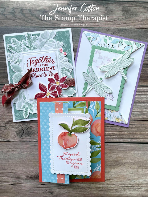 Three cards using Stampin' Up! Designer Series Papers (DSP).  Tidings of Christmas, Hand-Penned Petals, and You're a Peach.  Select designer papers are 15% off through Aug 2, 2021.  www.StampTherapist.com #StampinUp #StampTherapist #MerriestMoments #DragonflyGarden