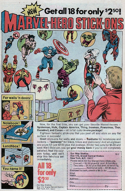 1970s Bronze Age Marvel stickers