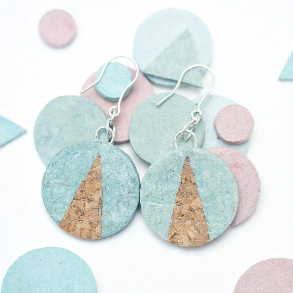 pair of pastel paper and tan cork circular earrings with silver hooks