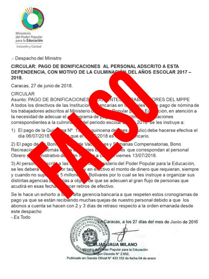 Circular sobre cronograma de pago es una informacion falsa no emanada por el MPPE