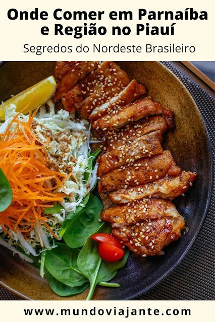 """panfleto de titulo """"onde comer em Parnaiba e Regiao"""" e foto de um prato de comida com legumes, verduras e carne assada"""