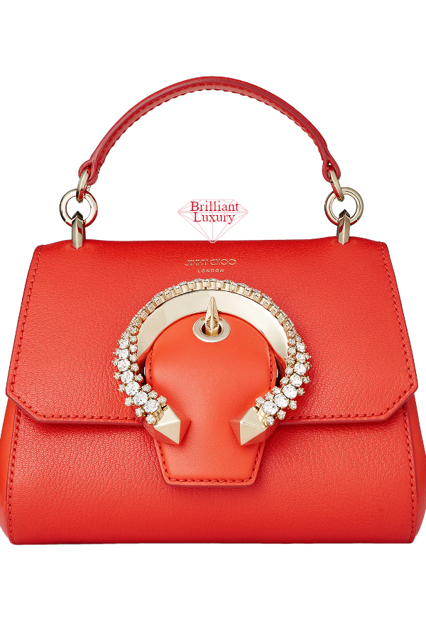 Jimmy Choo Madeline Mandarin Red Goat and Calf Leather Top Handle Bag with Crystal Buckle #brilliantluxury